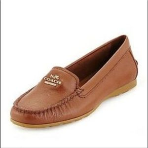 Coach Loafers Flats saddle Brown Leather 9 Opal